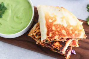 Vegetarian Quesadilla with Avocado Cream